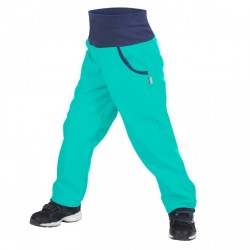 Unuo softshellové kalhoty s fleecem SMARAGDOVÉ, vel. 98/104 a 110/116