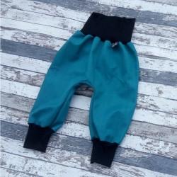 Yháček podzimní softshellové kalhoty PETROLEJOVÉ, vel. 86 a 98
