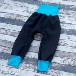 Yháček podzimní softshellové kalhoty ČERNÁ / TYRKYS, vel. 74, 80, 86, 98, 128, 134