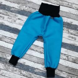 Yháček podzimní softshellové kalhoty MENTOLOVĚ MODRÁ / ČERNÁ, vel. 92, 98, 104