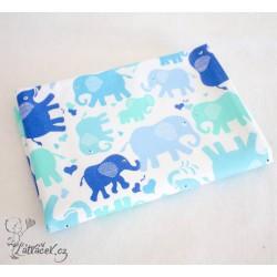Hedush Handmade přebalovací podložka SLONI modří
