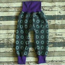 Yháček zimní softshellové kalhoty HVĚZDY / fialová, vel. 92