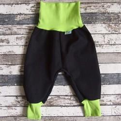 Yháček podzimní softshellové kalhoty ČERNÁ / ZELENÁ, vel. 74 a 110