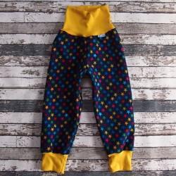 Yháček zimní softshellové kalhoty HVĚZDIČKY se žlutou, vel. 110