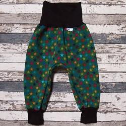 Yháček zimní softshellové kalhoty HVĚZDIČKY na zelené, vel. 92 a 98