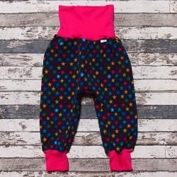 Yháček zimní softshellové kalhoty HVĚZDIČKY s růžovou, vel. 92 a 116