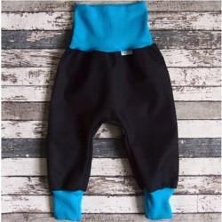 Yháček letní softshellové kalhoty ČERNÁ / TYRKYS, vel. 98